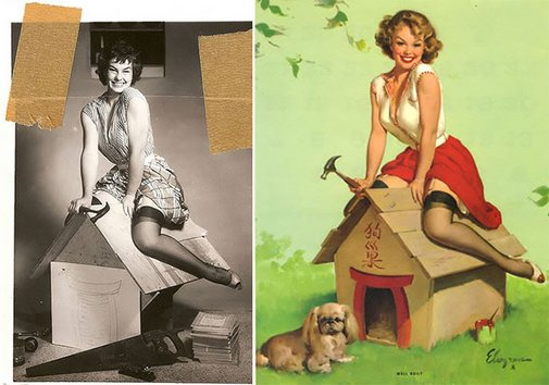 Classic Pin-Up Girls Before And After Editing: The Real Women Behind Those Gil Elvgren's Incredible Paintings