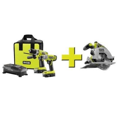 Ryobi Cordless Hammer Drill and Impact Driver Combo Kit + Circular Saw $159